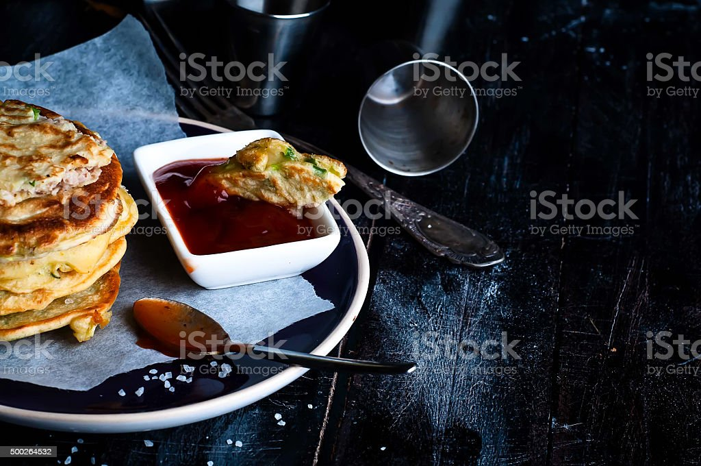 Tasty pancakes served in the plate stock photo