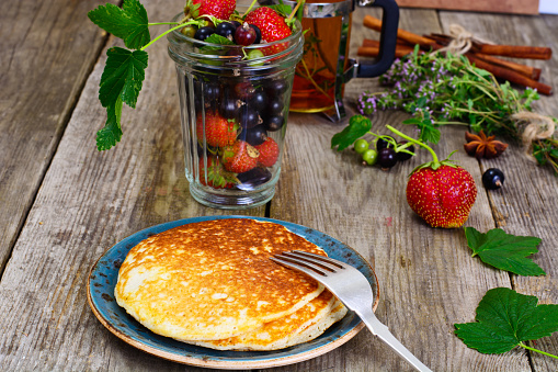 Tasty Pancakes Stack with Strawberry and Currant