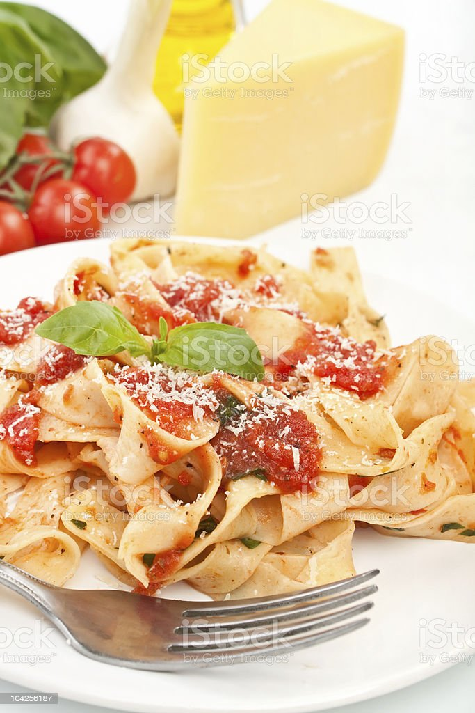 tasty pasta with tomato sauce royalty-free stock photo