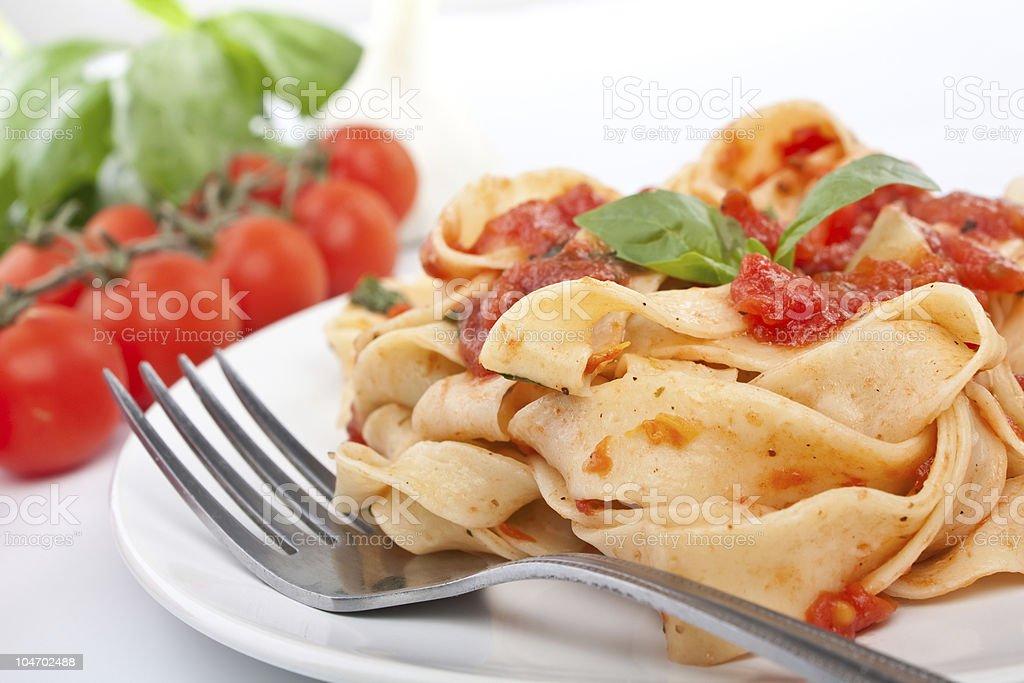 tasty pasta with tomato sauce royalty-free stock photo