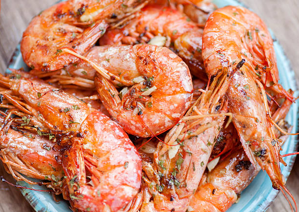 Tasty prawns stock photo