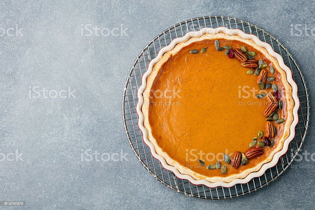 Tasty pumpkin pie, tart made for Thanksgiving day stock photo