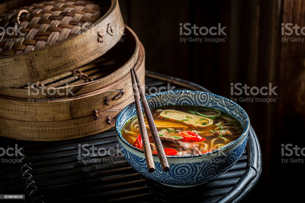 Tasty Red Curry soup with beef and noodle – Foto