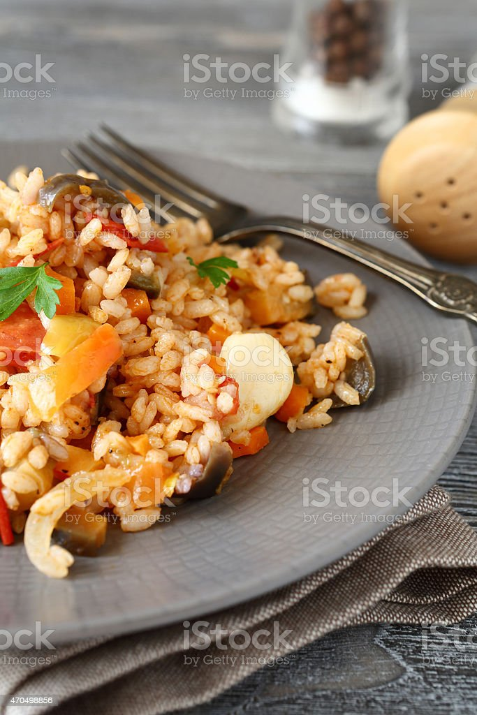 Tasty Risotto with vegetables stock photo