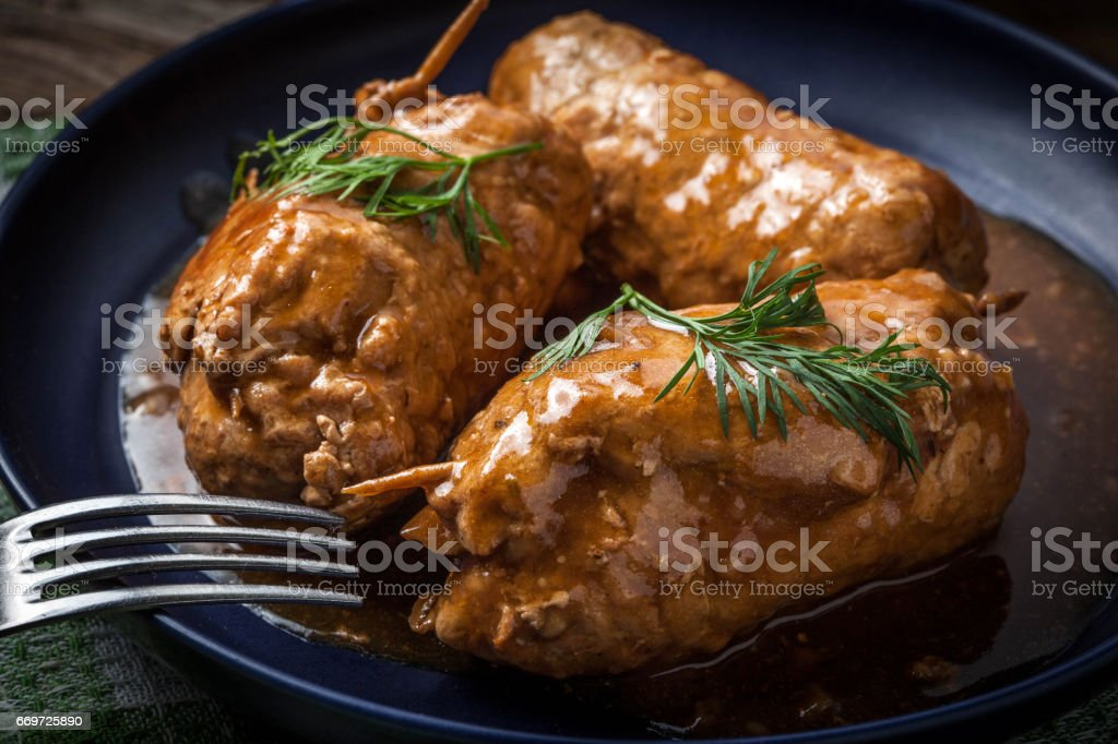 Tasty roulades beef on plate. stock photo