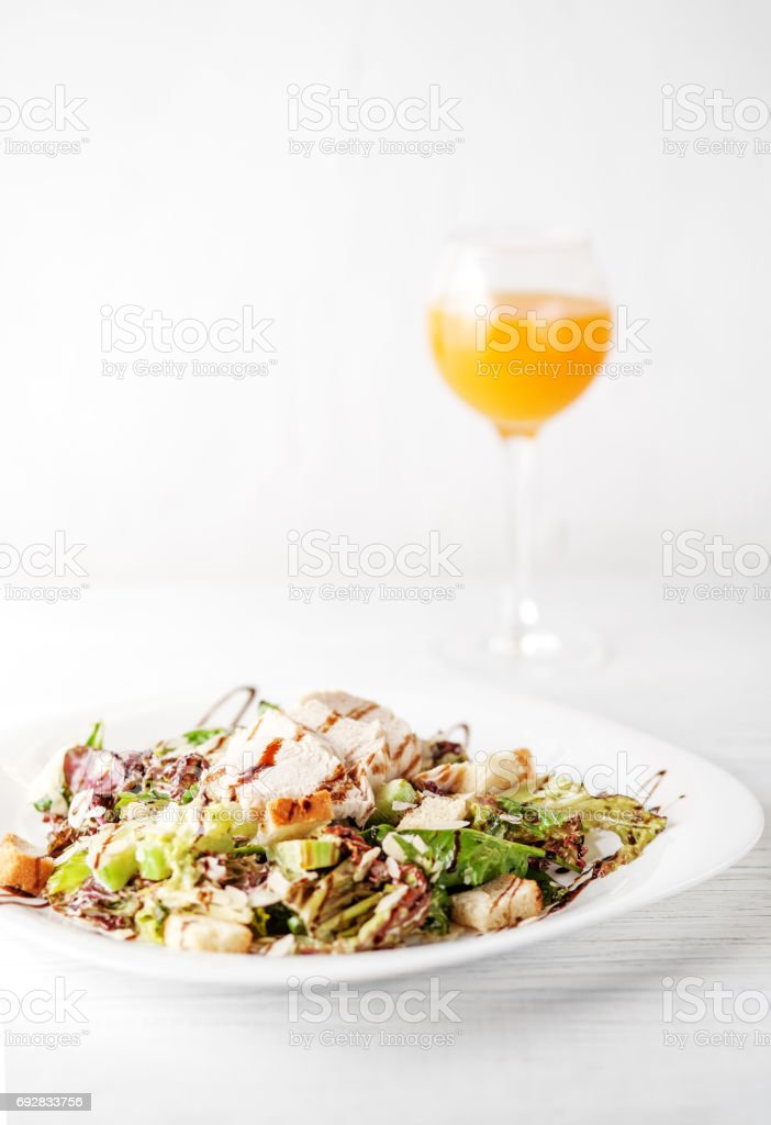 Tasty Salad With Cucumber And Chicken Juice Breakfast The Concept Of