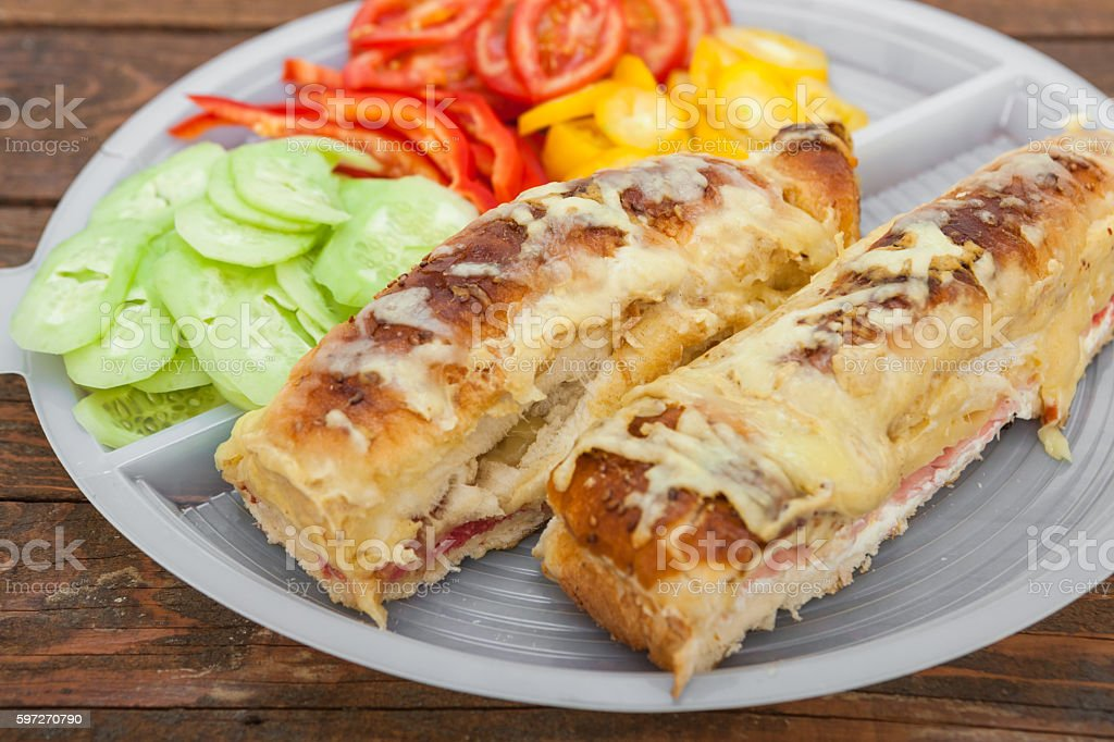Tasty sandwich with ham, melted cheese and vegetables royalty-free stock photo