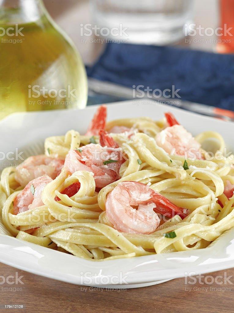 Tasty Shrimp Fettuccine Alfredo stock photo