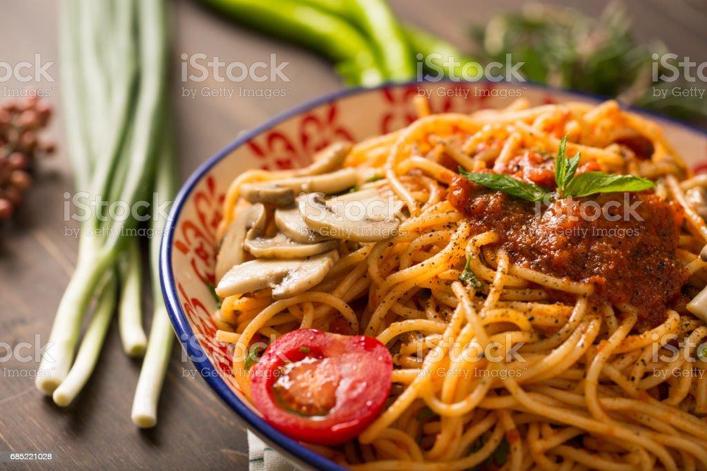 Tasty Spaghetti Neapolitan stock photo