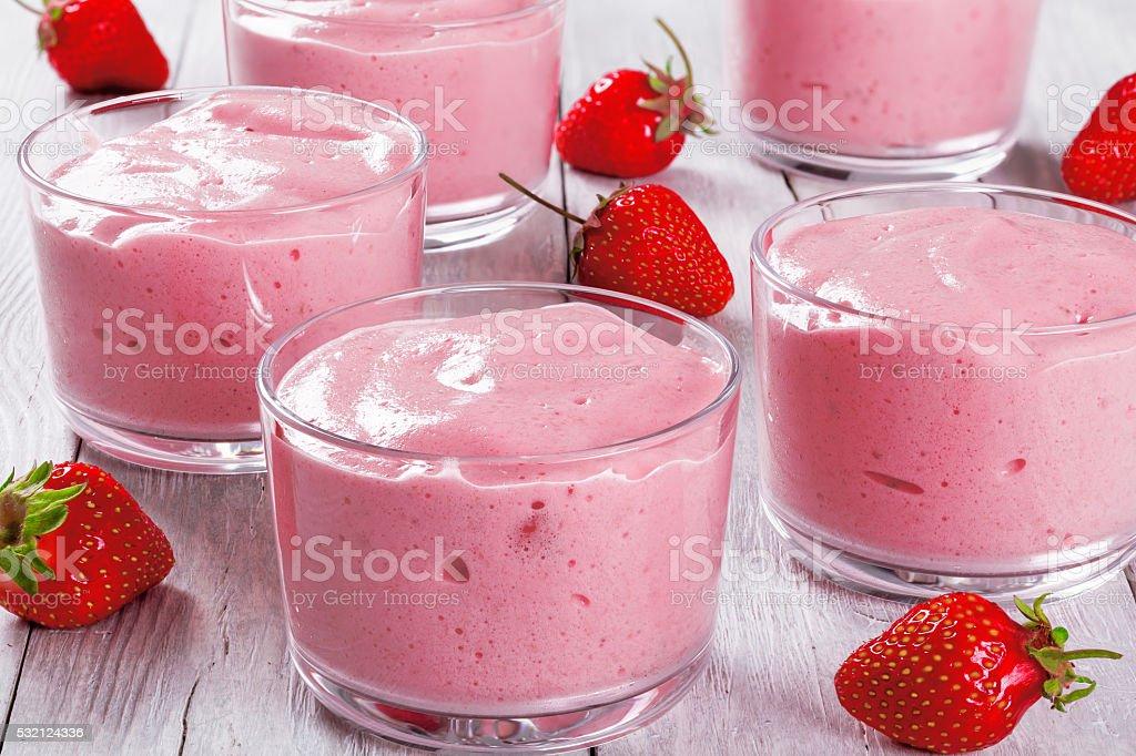 Tasty Strawberry Banana Smoothies Cups, close up, macro stock photo