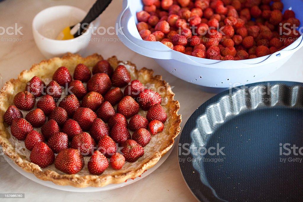 tasty strawberry pie royalty-free stock photo
