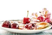 Tasty Sweet Cherry Pie on Table
