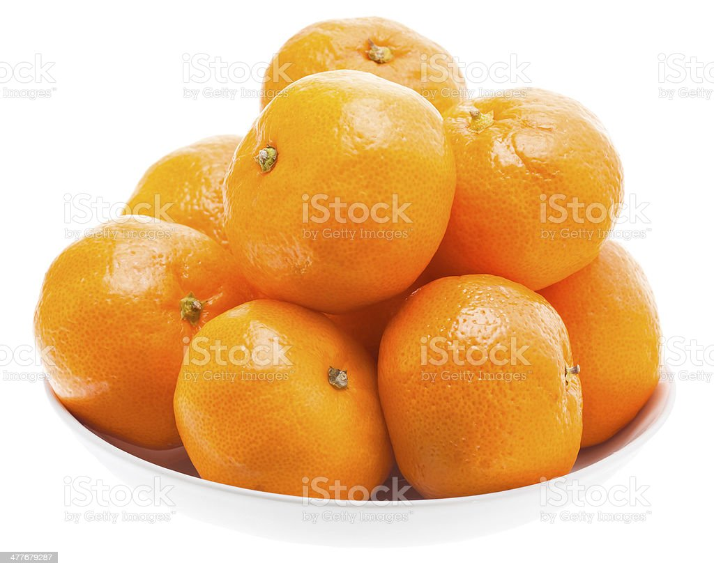 Tasty Sweet Tangerine Orange Mandarin Mandarine Fruit In White P royalty-free stock photo