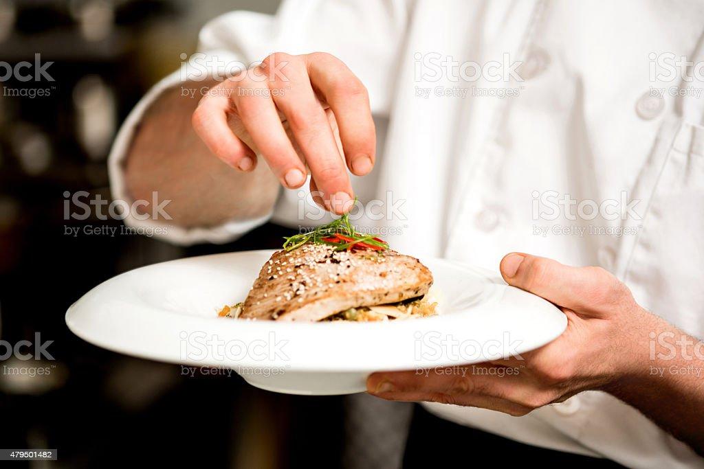 Tasty tuna appetizer is ready. stock photo
