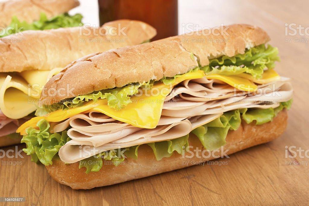 tasty  turkey ( chicken )sandwich stock photo