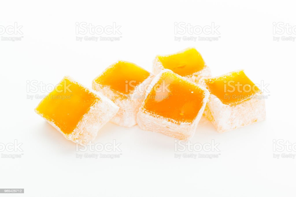 Tasty Turkish delight isolated on white royalty-free stock photo