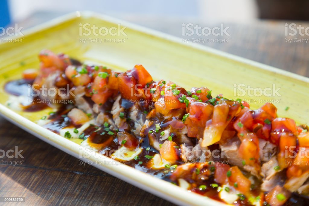 Tataki de atun spanish national dish stock photo