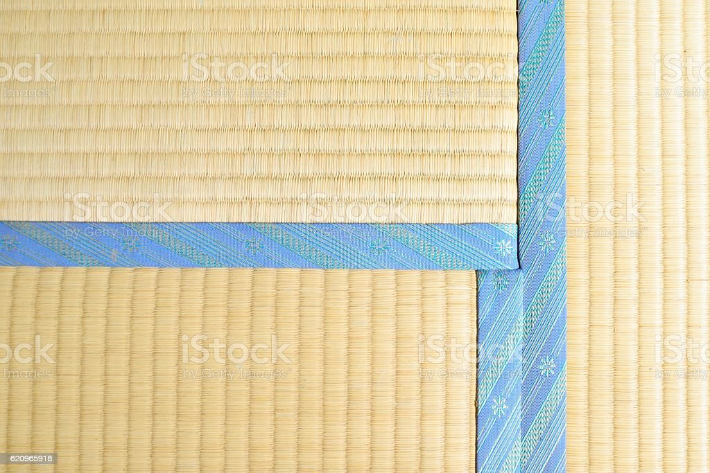 Tatami with light blue edging, ribbon stock photo