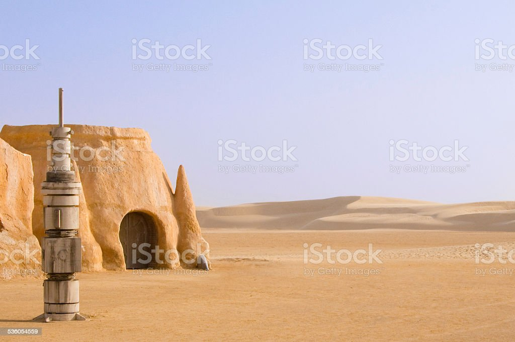 Tataouine scenery on a background of sand dunes stock photo