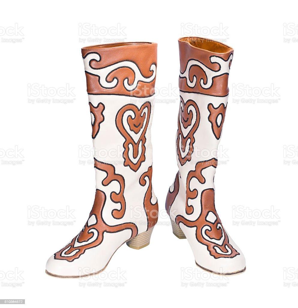 Tatar national boots Ichigi stock photo