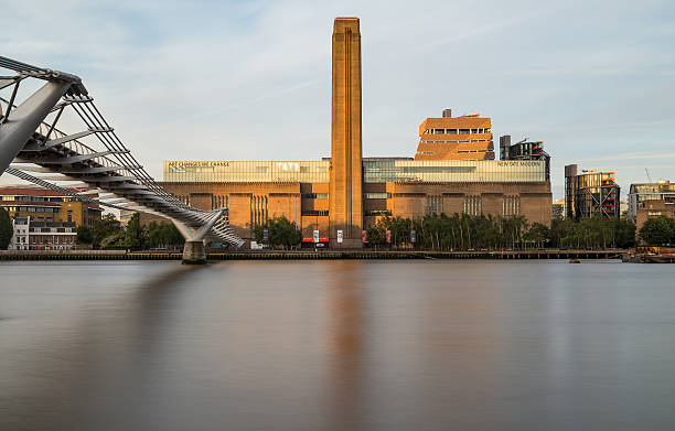 Tate Modern and Millenium Bridge in the Morning stock photo