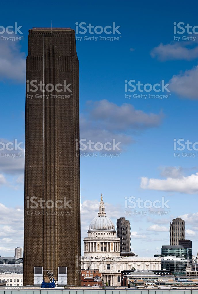 Tate modern and St Paul's Cathedral, London royalty-free stock photo