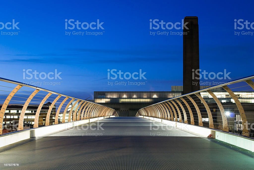 Tate Modern Gallery, Millennium Bridge, London, morning - copy space stock photo