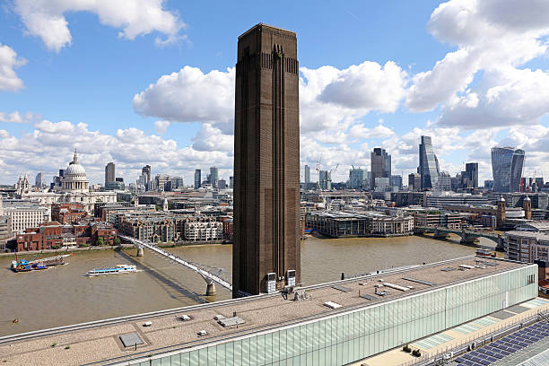 Tate Modern on the Thames River, London stock photo