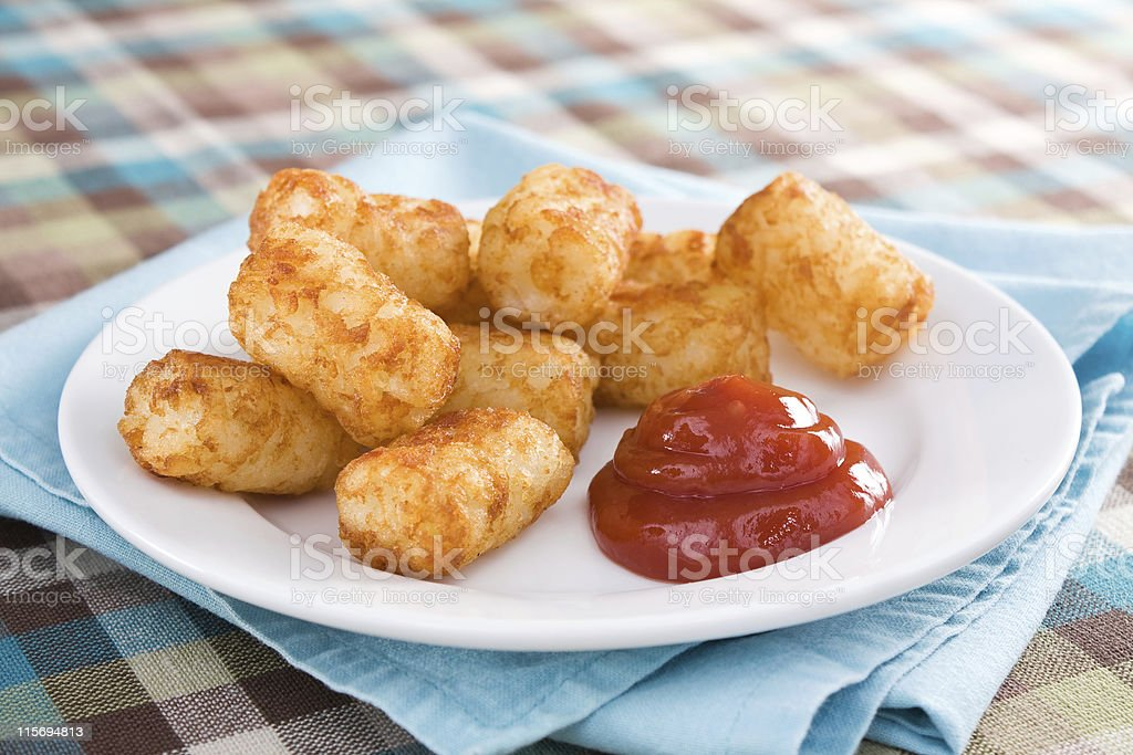 Tater Tots & Catsup royalty-free stock photo