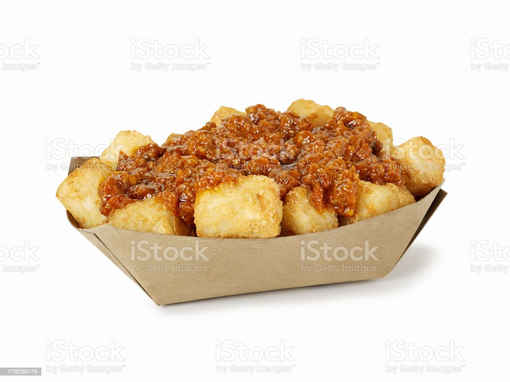Tater Tots with Chilli stock photo
