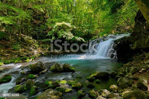 Tateshina Waterfall Of The Fresh Green Stock Photo & More Pictures of Awe