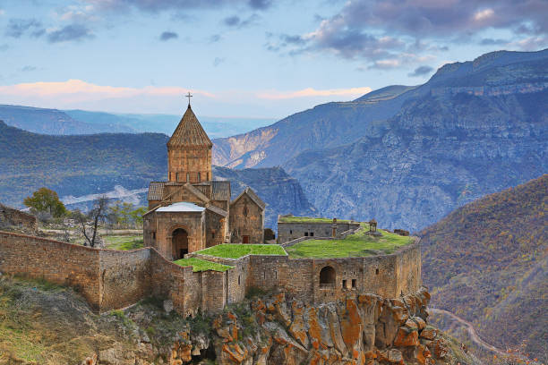 Tatev, Armenia. View over the Tatev cathedral and church complex near the city of Goris, in Armenia, at the sunset. yerevan stock pictures, royalty-free photos & images