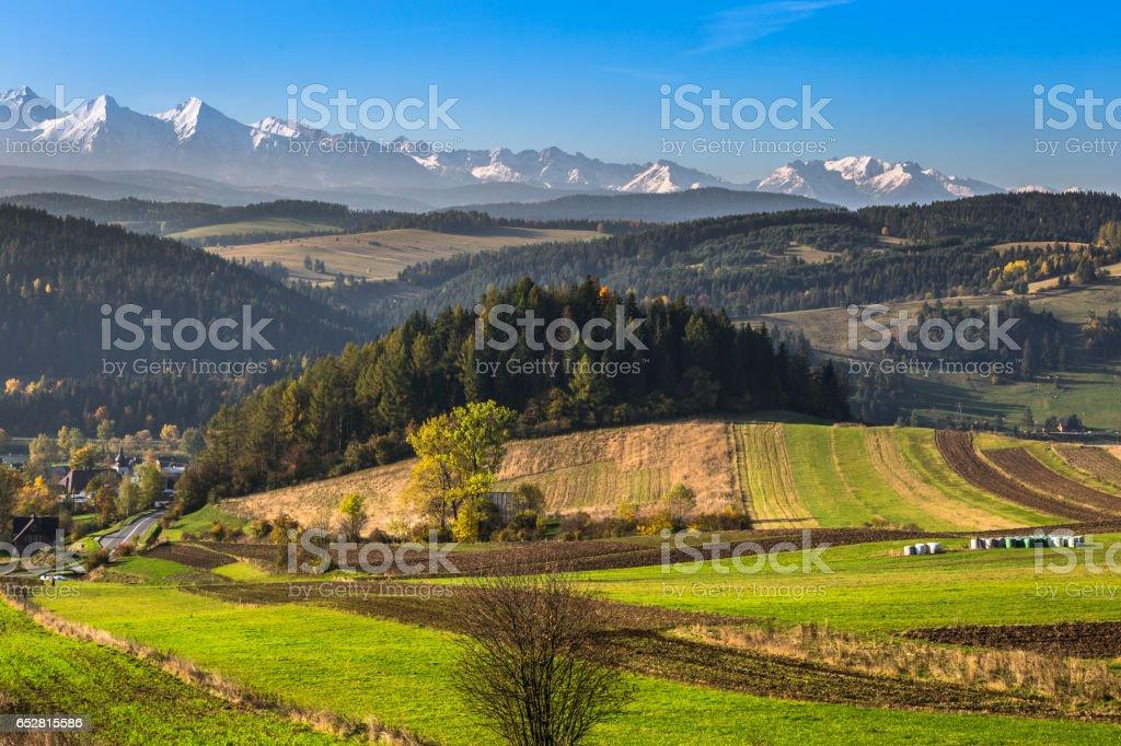 Tatra mountains in rural scene stock photo