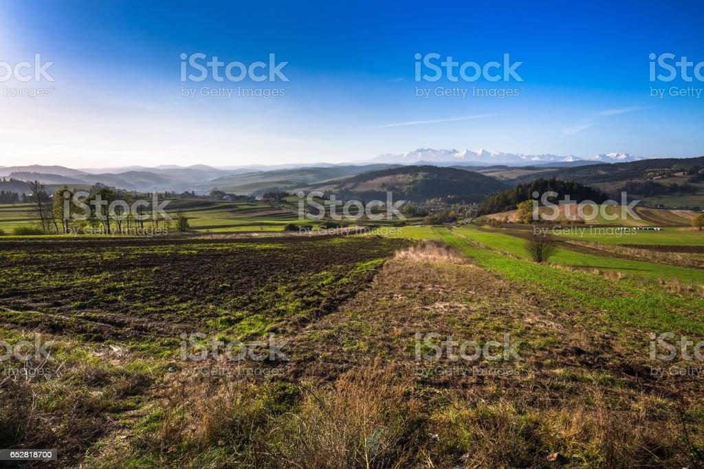 Tatra mountains in rural scene, Poland stock photo