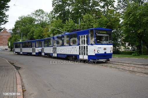 Riga, Latvia - June 27th, 2016: Classic Tatra T6B5 - T3M tram in Riga center. The classic Tatra trams was very popular vehicles in cities in Eastern Bloc.