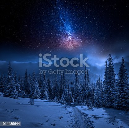 istock Tatras Mountains in winter at night and stars, Poland 914435644