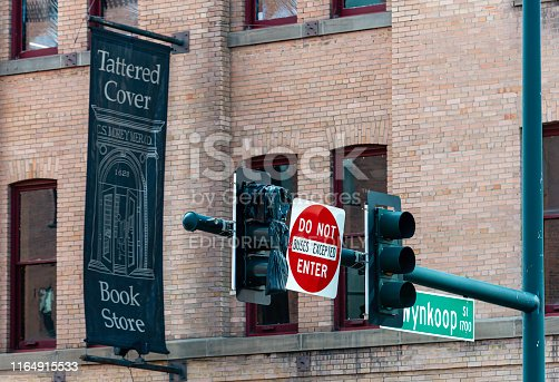 Facade of the main location of the Tattered Cover Book Store in the LoDo, Lower Downtown area of Denver, Colorado.