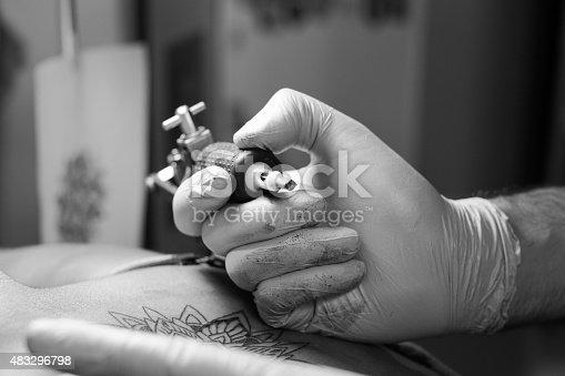 istock Tattoo artist at work - close up 483296798
