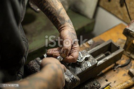 istock Tattoo artist preparing his machine in the studio 1217416728