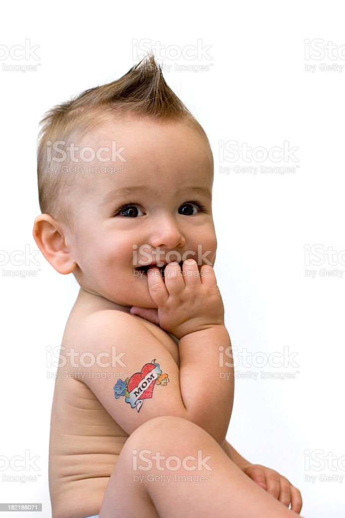Tattoo baby loves his mom royalty-free stock photo