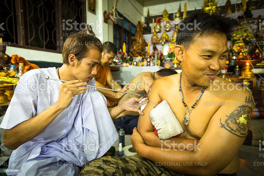 Tattoo Festival in Wat Bang Pra monastery, Thailand royalty-free stock photo