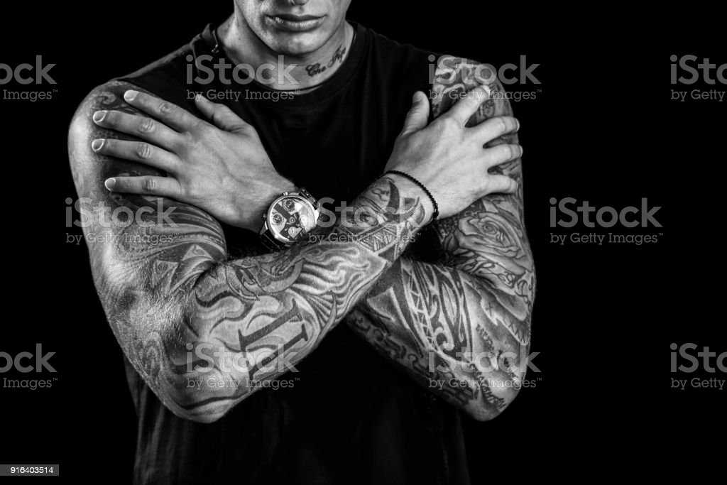 Tattoo sleeves stock photo