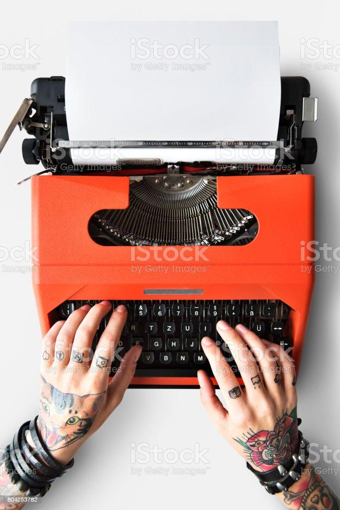 Fotografía De Concepto De Periodismo De Letra De Máquina De Tatuaje