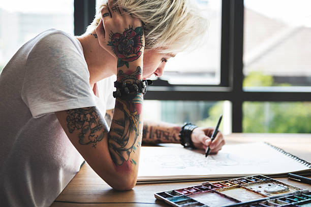 Tattoo Woman Creative Ideas Design Inspiration Concept - foto stock