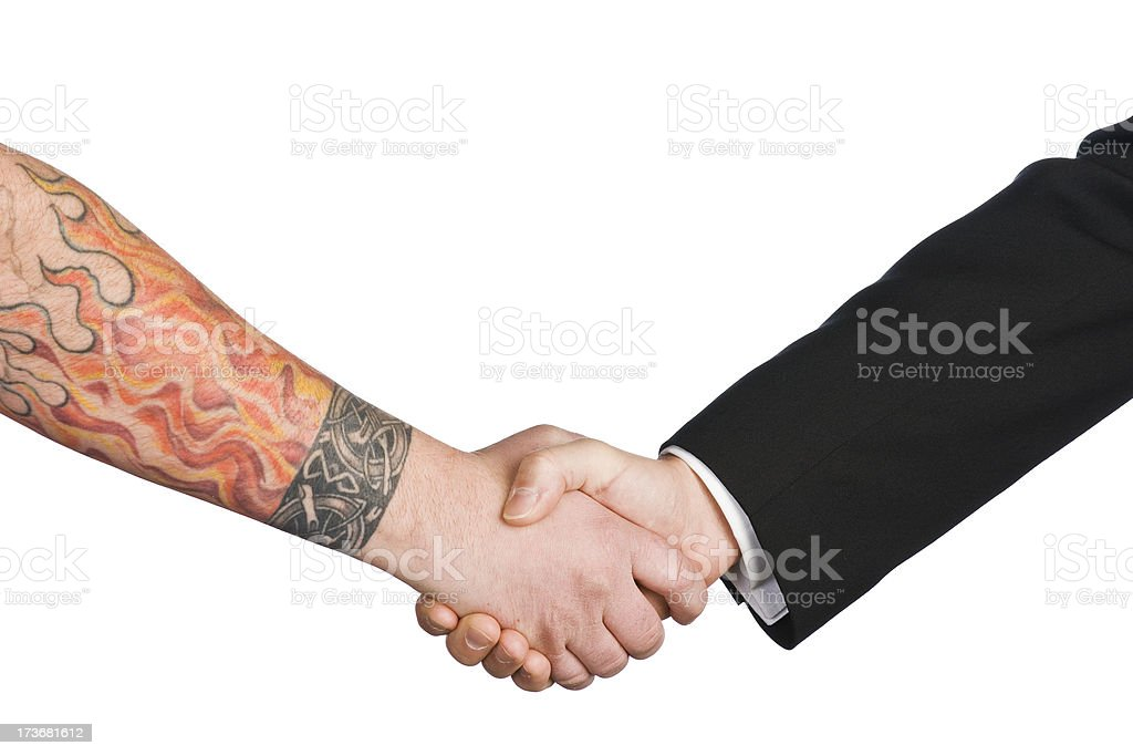Tattooed Handshake royalty-free stock photo