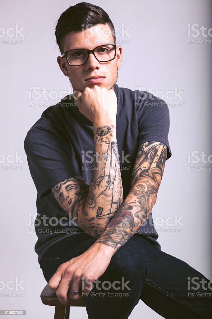 Tattooed Hipster Man stock photo