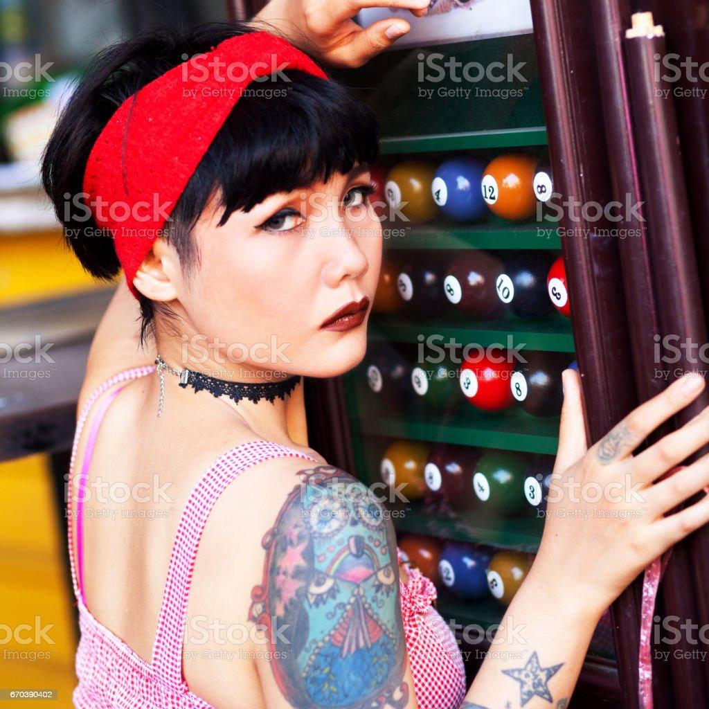 Tattooed Thai Girl Royalty Free Stock Photo