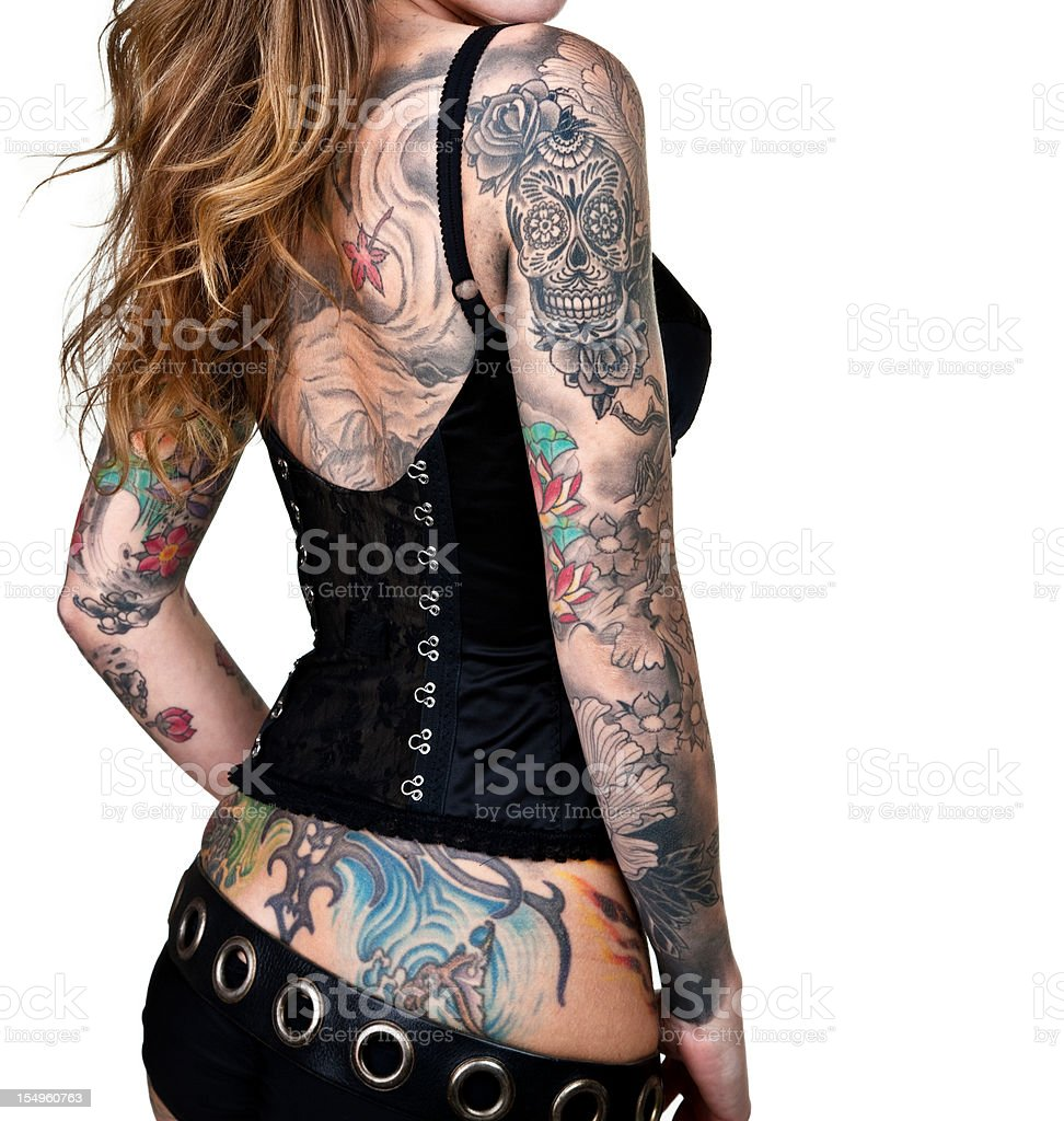 Tattooed woman stock photo