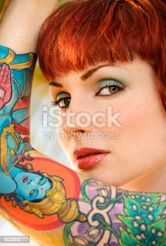 istock Tattooed woman. 93388277