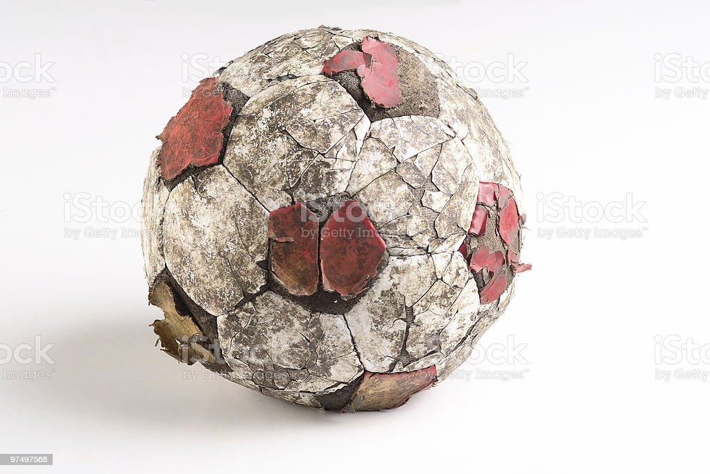 Tatty old soccer ball royalty-free stock photo
